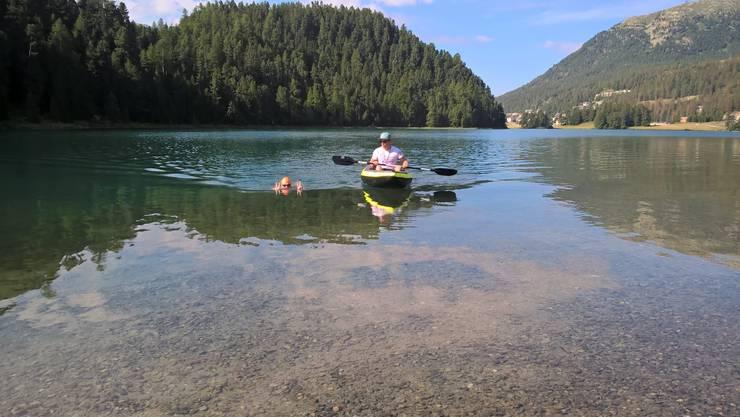 Zum Einschwimmen durchschwamm er den Lej sout da Silvaplauna und den Champfèrersee zweifach, bevor es zum St. Moritzersee ging.