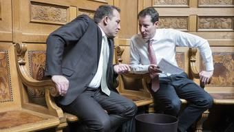 Die SVP-Nationalräte Thomas Matter und Thomas Aeschi (rechts) wollen einen neuen Steuerdeal.