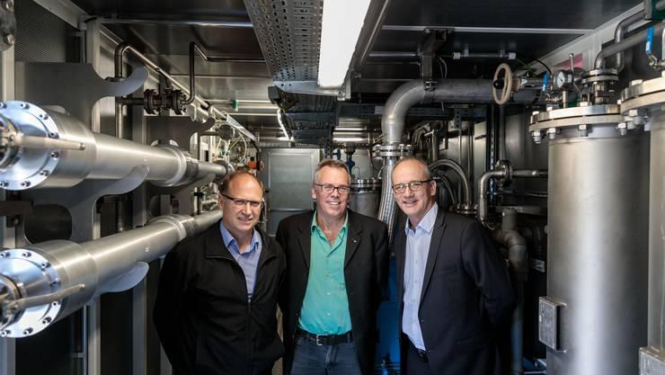 Benno Schläfli (Geschäftsführer ARA), Per Just (Geschäftsführer SWG), Alexander Kohli (ARA-Präsident)