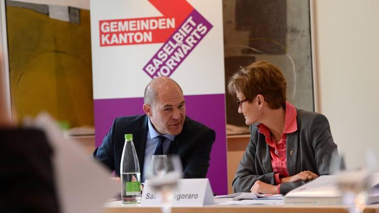 Anton Lauber und Sabine Pegoraro bei der Pressekonferenz der FKD zur Jahresplanung 2015.
