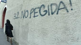 Schon die Sprayereien lassen Widerstand erwarten: Anti-Pegida-Graffiti am Basler Kohlenberg.