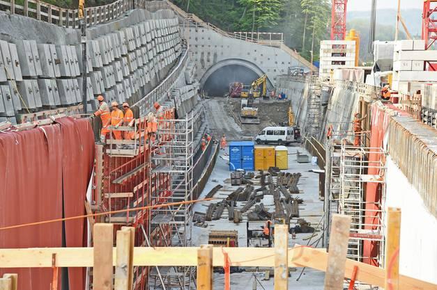 Die Baustelle am Ostportal des Eppenbergtunnels