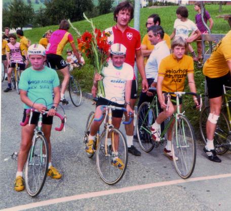 Siegerehrung im Jahr 1979 nach einem Rennen der Jungradler Sulz.