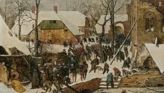 """Die Tafel """"Die Anbetung der Heiligen Drei Könige im Schnee"""" (1563) von Pieter Bruegel d.Ä. steht im Zentrum der Ausstellung """"Das Wunder im Schnee"""" im Museum Oskar Reinhart """"Am Römerholz"""" in Winterthur. Die Schau dauert vom 23. November 2019 bis zum 1. März 2020."""