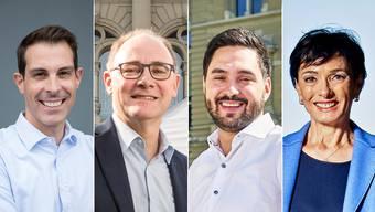Die vier Ständeratskandidaten mit den besten Wahlchancen: Thierry Burkart (FDP), Hansjörg Knecht (SVP), Cédric Wermuth (SP) und Marianne Binder (CVP).