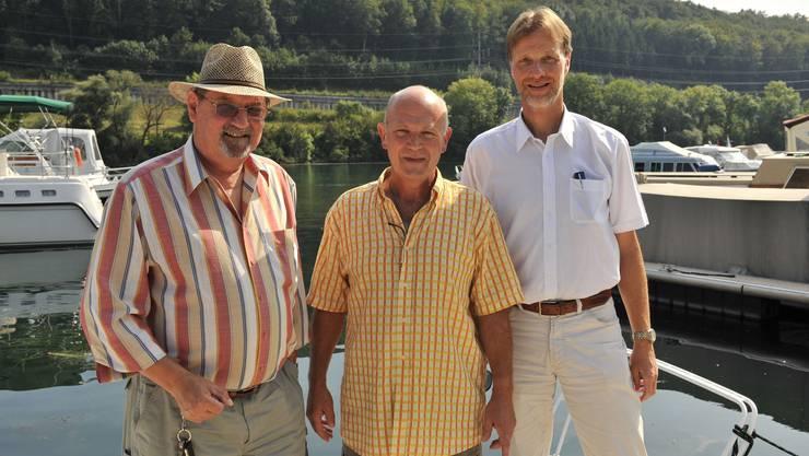 Engagierte Fischer: Urs Hinden, Präsident ad interim, Sepp Käser, Sekretär, und Marco Vescovi, künftiger Präsident des Fischereiverbands.