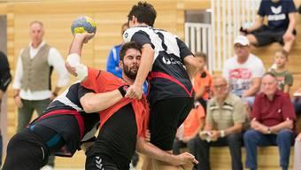 Die Möhliner NLB-Handballer, hier im Bild Sebastian Kaiser, hatten gegen die Kadetten Espoirs das Nachsehen. Bild: Michi Mahrer/Archiv