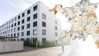 In Aarau bekam man letztes Jahr eine 4,5-Zimmer-Wohnung günstiger als im ländlichen Freienwil. Die interaktive Karte finden Sie unten.