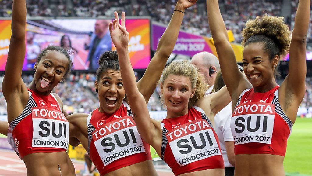 Die Schweizer Sprint-Staffel sorgte im Vorlauf über 4x100 m für einen Schweizer Rekord