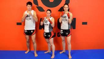 Die drei Kickboxer des Raion Dojo: Marco Aegeter, Carina Hostetter, Stefanie Probst.