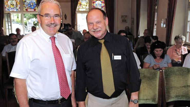 BDP-Präsident Schweiz Hans Grunder (li) und BDP-Basel-Präsident Roland Weiner.
