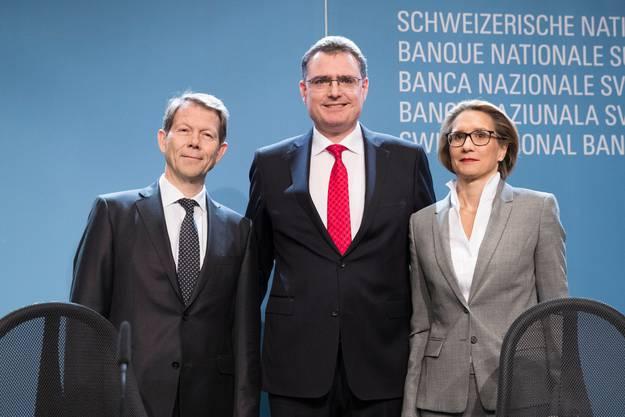 Das Führungstrio der Nationalbank: Fritz Zurbrügg, Vizepräsident, Thomas Jordan, Präsident, und Andrea Maechler.