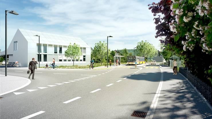 Durch das Regeln der Vortrittsverhältnisse – hier die Einmündung der Schulstrasse beim Gemeindehaus – soll die Sicherheit erhöht werden. Visualisierung/zvg