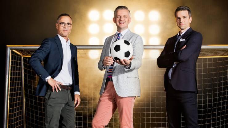 Die «Super League – Goool»-Moderatoren Matthias Hüppi (l.), Rainer Maria Salzgeber (M.) und Paddy Kälin