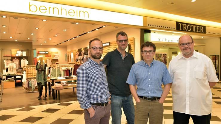 Sie stehen ein für den Sälipark 2020 (von links): Sälipark-Geschäftsführer Mike Cipolletta von Trotter Optik, Mode-Bernheim-Inhaber Alain Bernheim, Trotter-Optik-Geschäftsleiter Marco Trotter und Santé-Sälipark-Inhaber Roland Rudolf von Rohr.