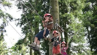 Waldseilgarten: Die Kinder haben keine Angst und balancieren übers Seil. (Barbara Vogt)