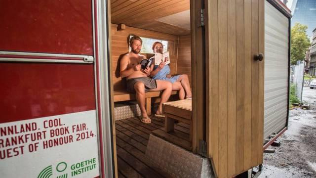 Die mobile Sauna des Gastlandes Finnland