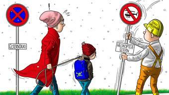 In Ehrendingen werden immer mehr Kinder in die Schule chauffiert. Halten Eltern ihre Sprösslinge zu sehr an der kurzen Leine?