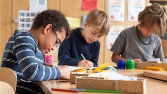 Schüler der Tagesschule Baden bei der konzentrierten Arbeit.