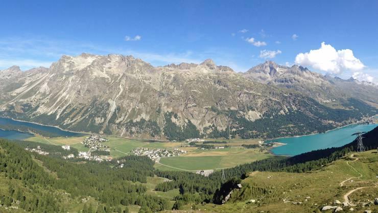 Panorama mit Silsersee Sils Maria und Silvaplanersee