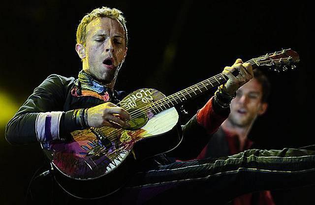 Chris Martin von Coldplay am Konzert in Barcelona (Archiv)