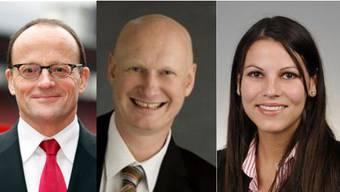 Die bürgerlichen Kandidaten Gerold Lauber (CVP) Roland Scheck und Nina Fehr (beide SVP) werden von der FDP unterstützt.