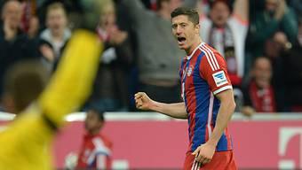 Robert Lewandowski nach seinem Treffer zu Bayerns 2:0