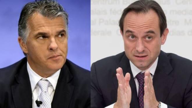 Sergio Ermotti, UBS- CEO (links) und Mark Branson, Direktor der Finma. Fotos: Keystone