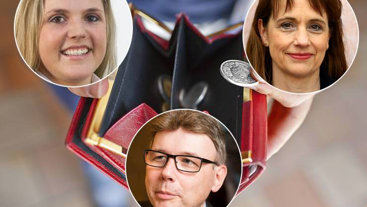 Bern sagte gestern Nein zu einer Kürzung der Sozialhilfe. Die Grossräte Martina Bircher (l., SVP), Dieter Egli (m., SP) und Martina Sigg (r., FDP) sind sich nicht einig, was dieses Ergebnis für den Aargau bedeutet.