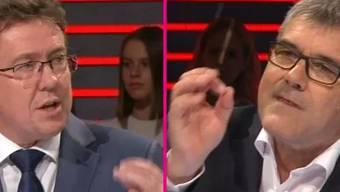 Die SVP schickte Parteipräsident Albert Rösti in die Manege, die SP den Nationalrat Eric Nussbaumer (rechts).