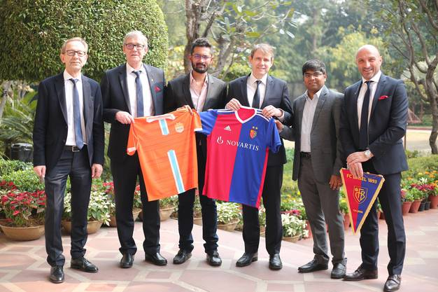 Peter Martin Von Bueren (CFO) FC Basel, Roland Heri (CEO) FC Basel, Rohit Ramesh, Co-owner-Chennai City FC, Bernhard Burgener (President) FC Basel, R Krishnakumar Co-owner- Chennai City FC, Massimoh ( Head of Youth Deve (1)