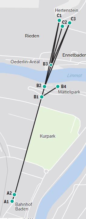 Situationsplan der Projektvarianten: A) Station Bahnhof, B2/4) Varianten Bäder, B3) Oederlin, C) Varianten Hertenstein.