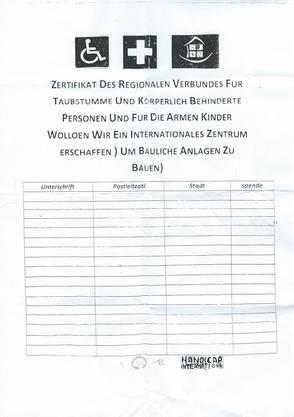 Mit diesem Papier fragen vermeintlich Taubstumme um eine Unterschrift - und um eine Spende.