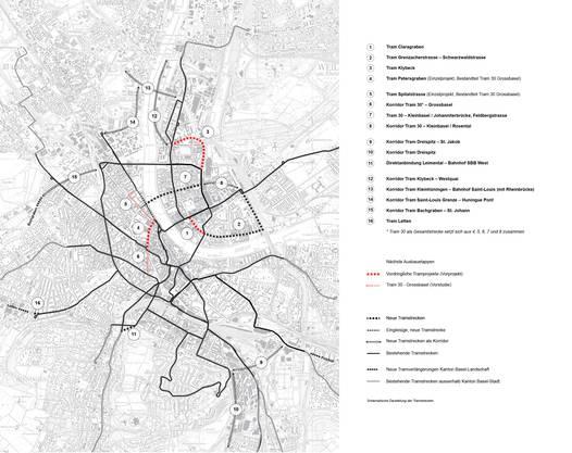 Plan über den Ausbau des Tramstreckennetzes.