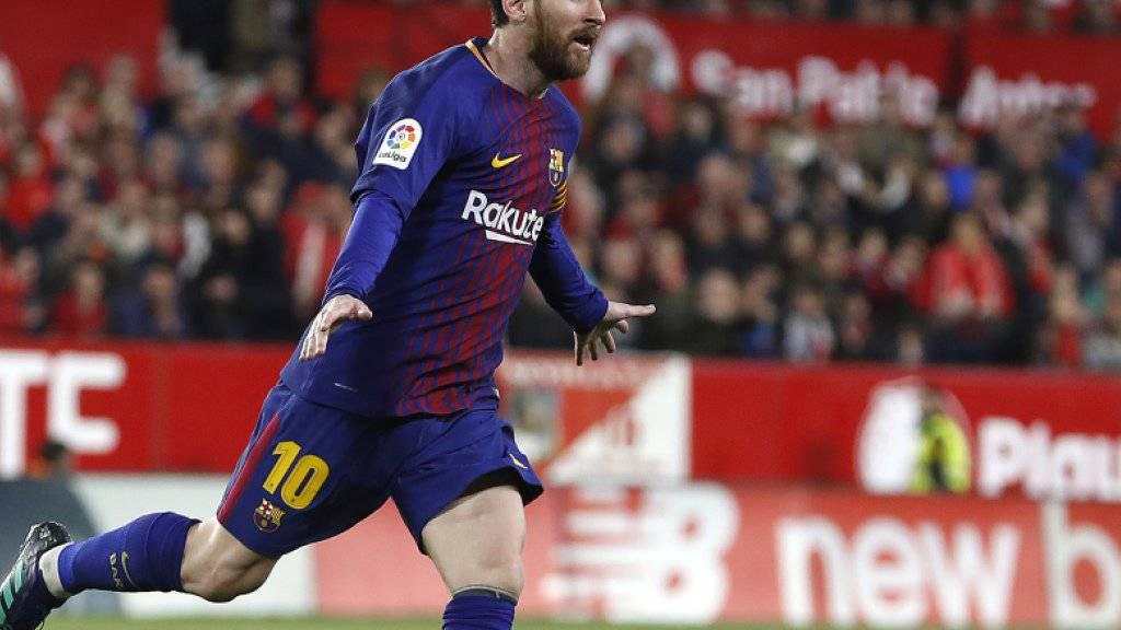 Lionel Messi dreht nach seinem Treffer gegen Sevilla jubelnd ab