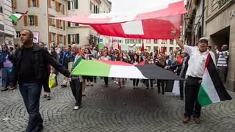Wie hier Anfang Woche in Lausanne soll am Samstag auch in Aarau eine Pro-Palästina-Demo stattfinden.