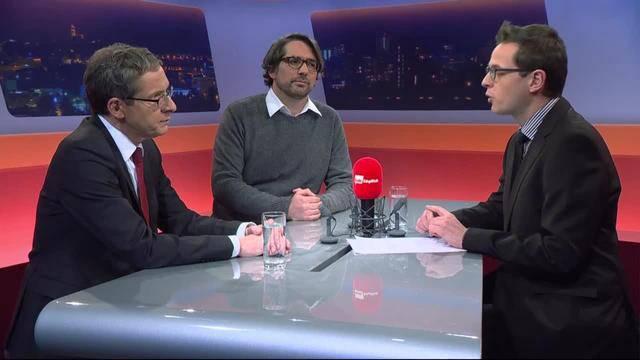 Volkswirtschaftsminister Urs Hofmann und Unia-Gewerkschaftssekretär Pascal Pfister im Talk zum Stellenabbau von Alstom auf Tele M1.