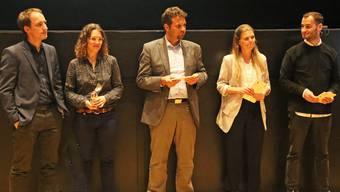 Dominik und Franziska Maegli, Reto Spiegel, Rebekka Eggenschwiler und Sebastian Kabis (vl.) standen den Gewerbetreibenden Red und Antwort.