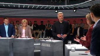 Anian Liebrand, Barbara Steinemann, Moderator Sandro Brotz, Karin Keller-Sutter und Angelo Barrile. (Bild: Screenshot SRF)