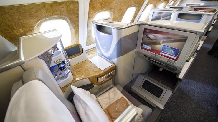 Blick in die Business Class anlässlich der Präsentation des neuen A380 der «Emirates».
