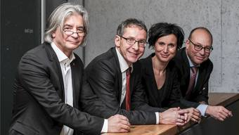 Von links: CEO Daniel Kündig, Regierungsrat Urs Hofmann, Ständerätin Pascale Bruderer, VR-Präsident Hubert Zimmermann.