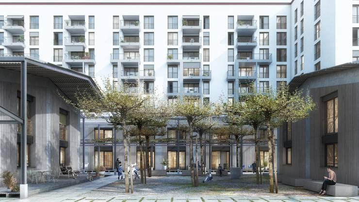 Im Leuschenbach-Quartier in Zürich-Nord soll eine städtische Wohnsiedlung für 213 Millionen Franken entstehen, falls das Stimmvolk Ja sagt.