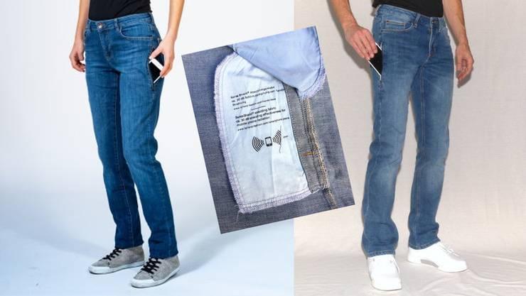 Im Angebot für Elektrosensible: Jeans mit Strahlenschutz-Innentasche.