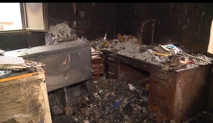 So sieht es im Forstwerkhof nach dem Brand aus: Das Büro ist zerstört.