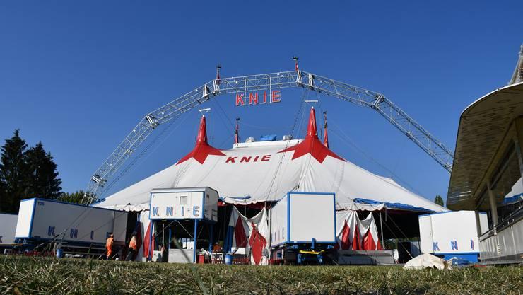 Der Circus Knie hat auf der Amphiwiese in Windisch sein Zelt aufgeschlagen.