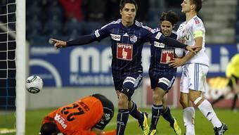 Luzerns Matchwinner Cristian Ianu feiert sein Tor zum 2:0.