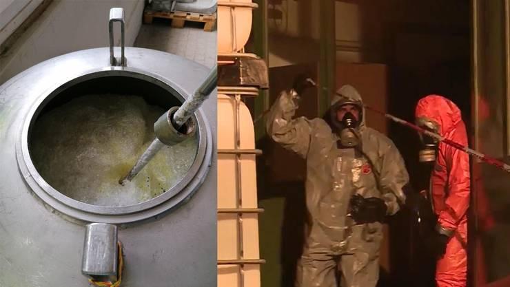 Das Rührwerk steckt nach der Reaktion in der ausgehärteten Chemie fest. Am Freitag waren rund 50 Personen wegen in Schönenwerd im Einsatz.