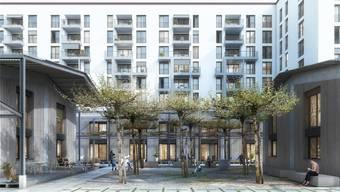 Im Leutschenbach-Quartier in Zürich Nord soll eine städtische Wohnsiedlung für 213 Millionen Franken entstehen, falls das Stimmvolk Ja sagt. Clou Architekten AG/zvg