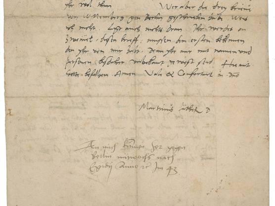 Gut erhalten: Brief mit der Unterschrift des Reformators Martin Luther (1483-1546).