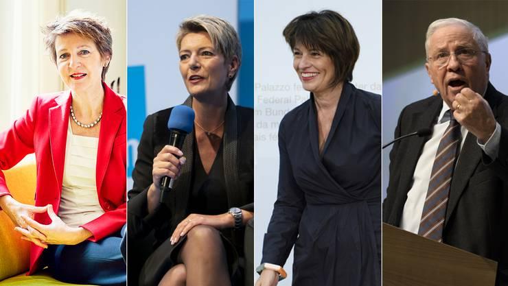 Reisen zu verschiedenen Anlässen ihrer Parteianhänger im Aargau (von links): Bundesrätin Simonetta Sommaruga (SP), Bundesrätin Karin Keller-Sutter (FDP), Alt Bundesrätin Doris Leuthard (CVP) und Alt Bundesrat Christoph Blocher (SVP).